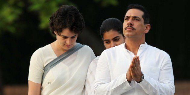 NEW DELHI, INDIA - AUGUST 20: Priyanka Vadra along with her daughter Miraya Vadra and husband Robert...
