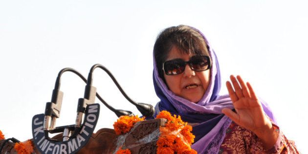 JAMMU, INDIA - APRIL 29: Jammu And Kashmir Chief Minister Mehbooba Mufti addressing the gathering after...