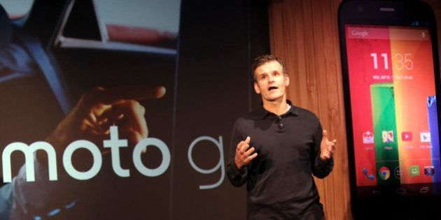 Motorola Mobility CEO Dennis Woodside talks during the worldwide presentation of the Moto G mobile phone...