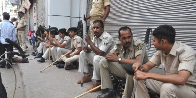 GAYA, INDIA - MAY 9: Policemen deployed during the general strike called by BJP to protest against the...