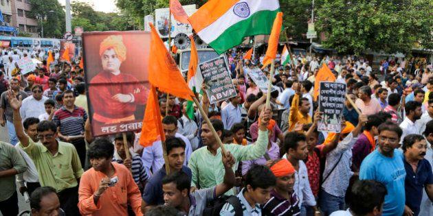Supporters of Akhil Bharatiya Vidyarthi Parishad (ABVP), affiliated students' union of ruling Bharatiya...