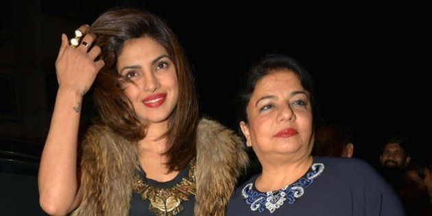 MUMBAI, INDIA JANUARY 27: Priyanka Chopra with her mother Madhu Chopra at Sanjay Leela Bhansalis Padma...