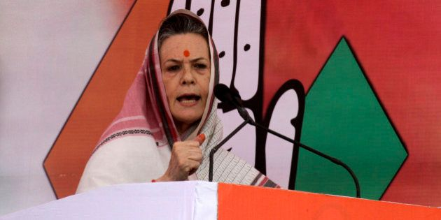 Sonia Gandhi, chief of India's ruling Congress party, addresses during an election campaign rally in...