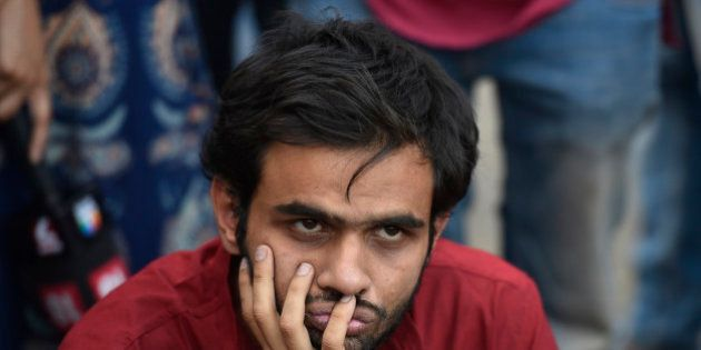 NEW DELHI, INDIA - MARCH 21: JNU studnet Umar Khalid during the protest against Jharkhand Government...