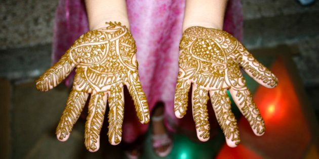 Indian Girl showing her Heena