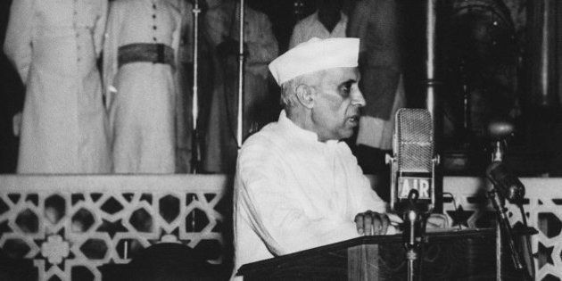 NEW DELHI, INDIA: Jawaharlal Nehru, India's first prime minister, delivers his famous 'tryst with destiny'...