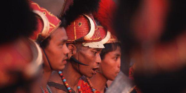 LONGWA, NAGALAND, INDIA - 1998/01/01: Aoling Festival, the main traditional celebration of the Konyak...