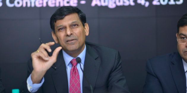 MUMBAI, INDIA - AUGUST 4: RBI Governor Raghuram Rajan during the third Bi-monthly Monetary Policy Statement...