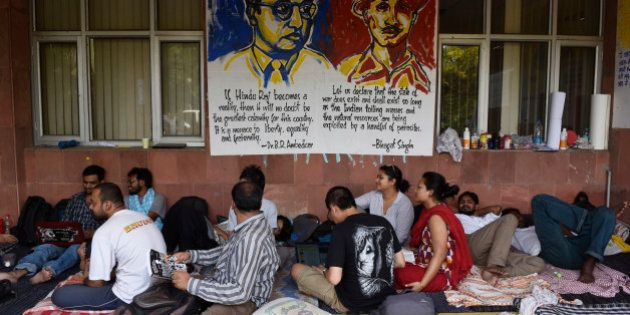 NEW DELHI, INDIA - MAY 3: JNU students on day six of hunger strike protesting punishment given to them...