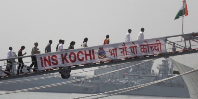 MUMBAI, INDIA - SEPTEMBER 30: Visitors during commissioning ceremony for INS Kochi on September 30, 2015...