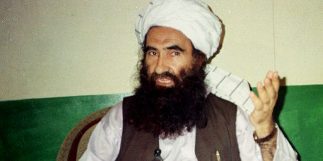 FILE- In this Aug. 22, 1998 file photo, Jalaluddin Haqqani, founder of the militant group the Haqqani...
