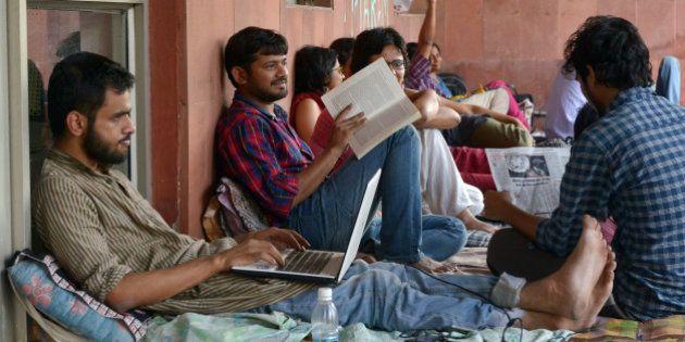NEW DELHI, INDIA APRIL 28: JNU Students' Union President Kanhaiya Kumar, Umar Khalid along with other...