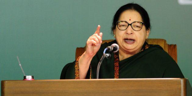 Jayaram Jayalalitha, leader of the Anna Dravida Munnetra Kazhagam (AIADMK) state political party, addresses...