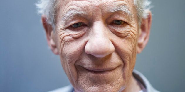 British actor Ian McKellen poses for a portrait during an interview with AFP in central London on April...
