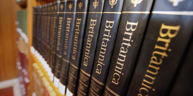 NEW YORK, NY - MARCH 14: Encyclopedia Britannica editions are seen at the New York Public Library on...