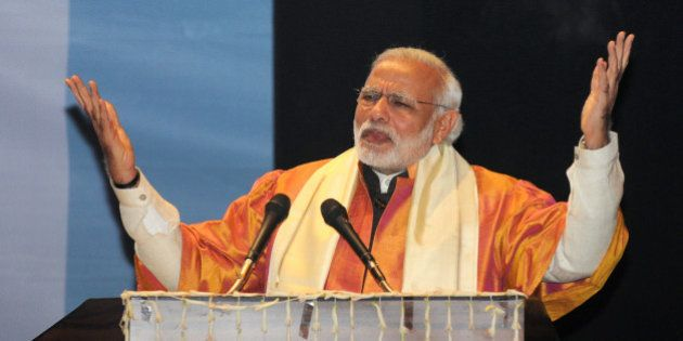 LUCKNOW, INDIA - JANUARY 22: Prime Minister Narendra Modi speaks during the convocation of the Babasaheb...