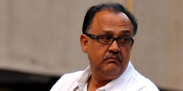 Indian Bollywood actor Alok Nath attends a memorial prayer for late Bollywood actor Farooq Sheikh in...