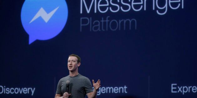 CEO Mark Zuckerberg talks about the Messenger app during the Facebook F8 Developer Conference Wednesday,...
