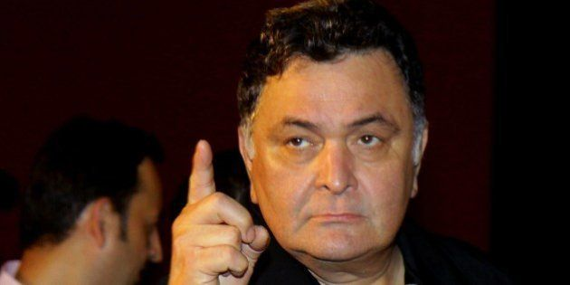Indian Bollywood actor Rishi Kapoor gestures during the trailer launch of the forthcoming Hindi film...