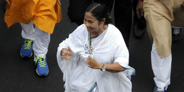 KOLKATA, INDIA - APRIL 28: TMC leader and West Bengal Chief Minister Mamata Banerjee canvass for her...