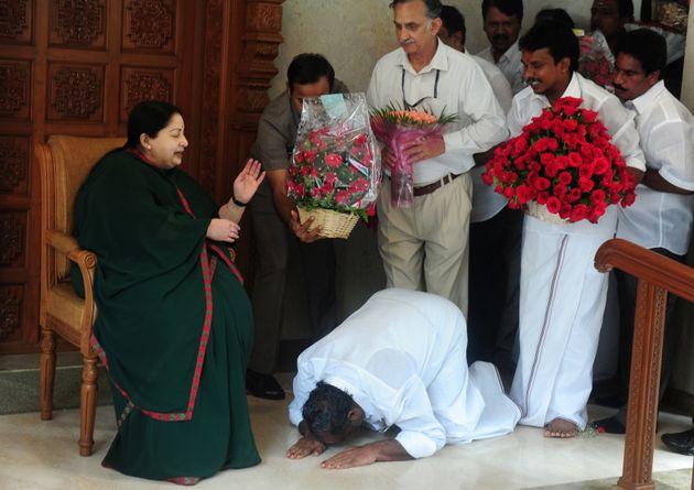 WATCH: Overawed Men Fall At Jayalalithaa's Feet To Congratulate