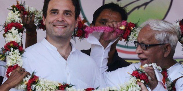 Congress vice-president Rahul Gandhi (L) and veteran Communist leader and former West Bengal chief minister...