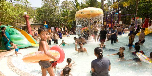 Crowds at Water Kingdom part of Essel world amusement park in Gorai, Mumbai, Water Kingdom is said to...