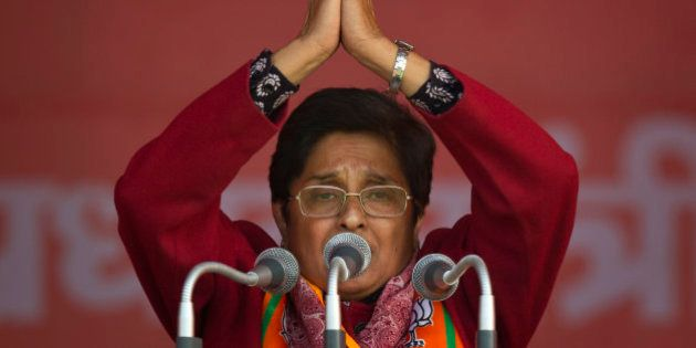 India's ruling Bharatiya Janata Party (BJP) chief ministerial candidate Kiran Bedi gestures during an...