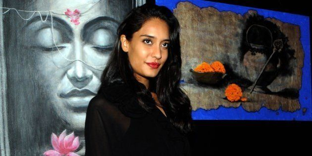 Indian Bollywood actress Lisa Haydon attends a charity art auction and fundraiser in support for medical...