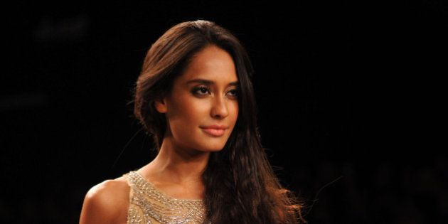 Indian Bollywood actress Lisa Haydon showcases a creation by Monica & Karishma on the third day of the...