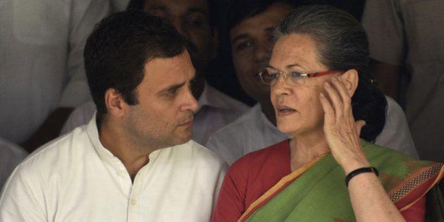 NEW DELHI, INDIA - APRIL 28: Congress President Sonia Gandhi, Vice President Rahul Gandhi, Haryana Janhit...