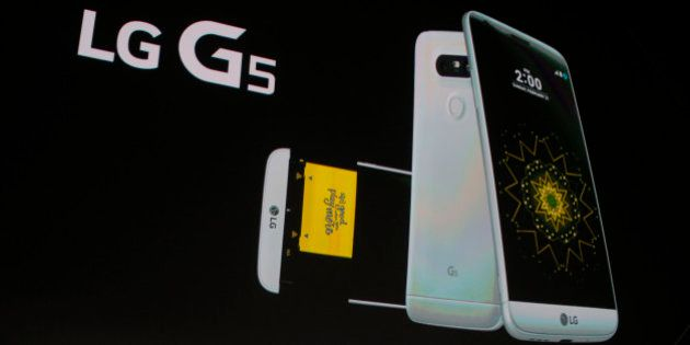Juno Cho President and CEO of LG Corp. presents the new LG's G5 smartphone during the LG unpacked 2016...