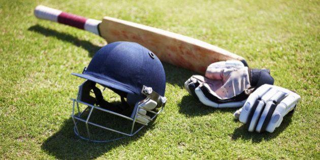 Shot of a batsman's equipment for