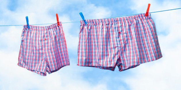 Small and obese boxer shorts on washing