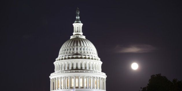 Close up of the dome of United States Capitol, Washington D.C.,