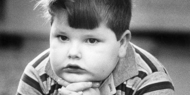 Overweight boy in kindergarten. Louisville,