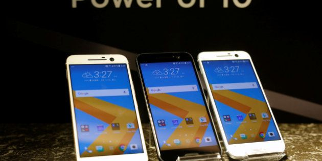 HTC 10 Android-based smartphones are displayed during the launch event in Taitung, Taiwan April 12, 2016....