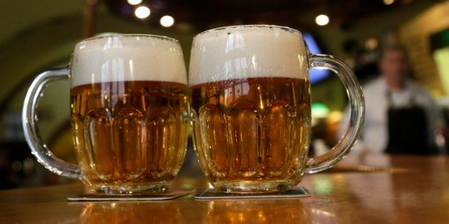 Glasses of beer are placed on a table in a pub in Prague, Czech Republic, Tuesday, Feb. 2, 2016. Czech...
