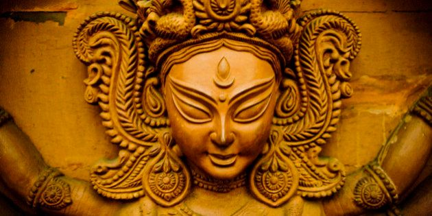 Terracotta Kali Devi Chamundi ferocious Devi mother goddess from Bengal, India.