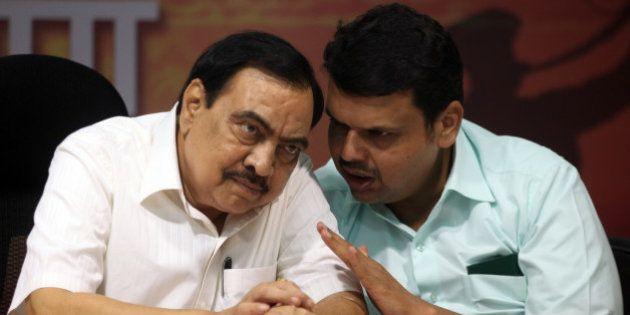 MUMBAI, INDIA - SEPTEMBER 25: BJP leaders Eknath Khadse and Devendra Fadnavis during a press conference...
