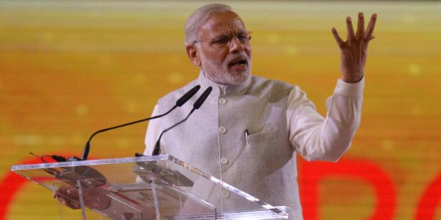 Indian Prime Minister Narendra Modi delivers a public speech to a crowd of mostly Indian nationals at...