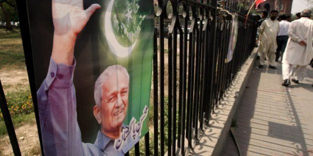 A poster of Pakistani disgraced nuclear scientist A.Q. Khan, also known as Abdul Qadeer Khan, is seen...