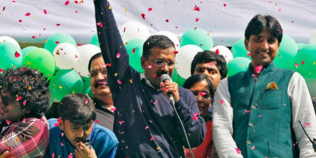 Aam Aadmi (Common Man) Party (AAP) chief and its chief ministerial candidate for Delhi, Arvind Kejriwal...