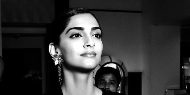 CANNES, FRANCE - MAY 15: (EDITOR'S NOTE: This image has been converted to black and white)Sonam Kapoor...