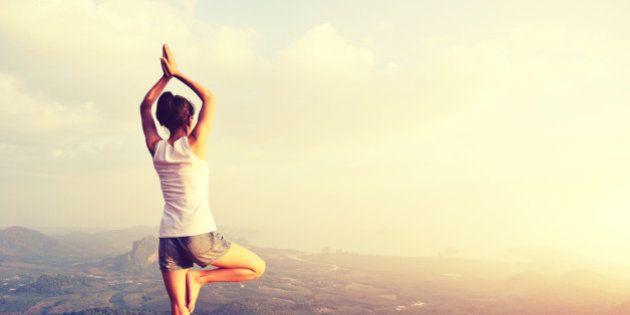 yoga woman mountain