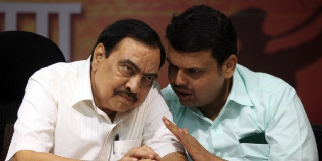 MUMBAI, INDIA - SEPTEMBER 25: BJP leaders Eknath Khadse and Devendra Fadnavis during a press conference...