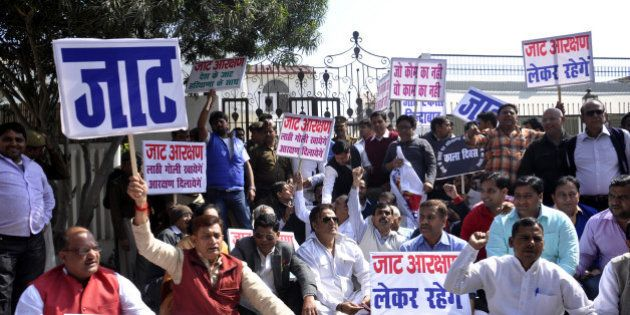 GHAZIABAD, INDIA - FEBRUARY 21: Jat community protests on the roads demanding reservations in government...