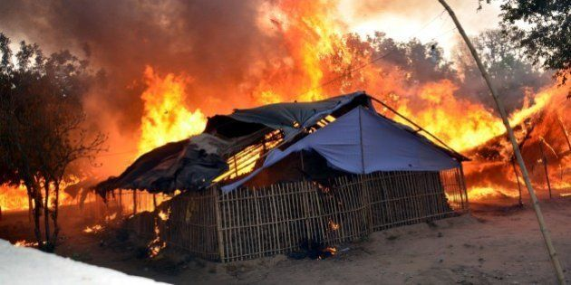 MATHURA, INDIA - JUNE 2: A fire breaks out after clashes between police and encroachers, believed to...