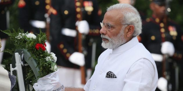 ARLINGTON, VA - JUNE 06: Indian Prime Minister Narendra Modi lays a wreath at the Tomb of the Unknown...