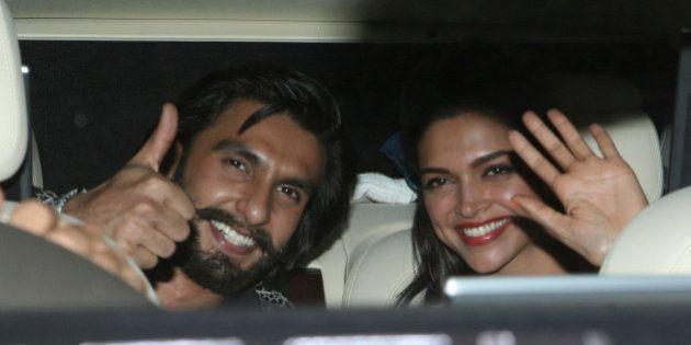 MUMBAI, INDIA NOVEMBER 16: Ranveer Singh and Deepika Padukone during the promotion of their movie Ram-Leela...